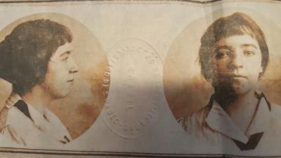 Retrato de Anita Malfatti em passaporte de época
