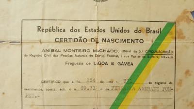 certidão nascimento Fernanda Pompeu
