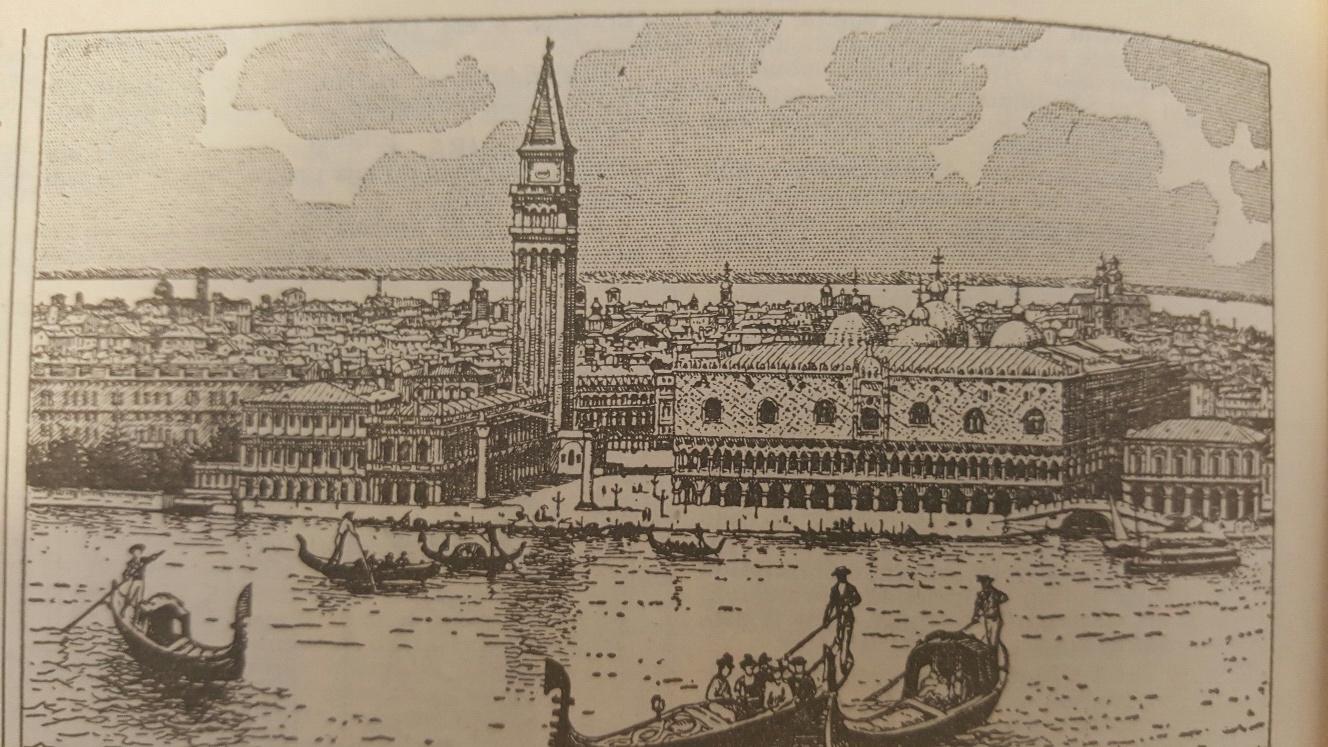 Cidade de Veneza com gôndolas