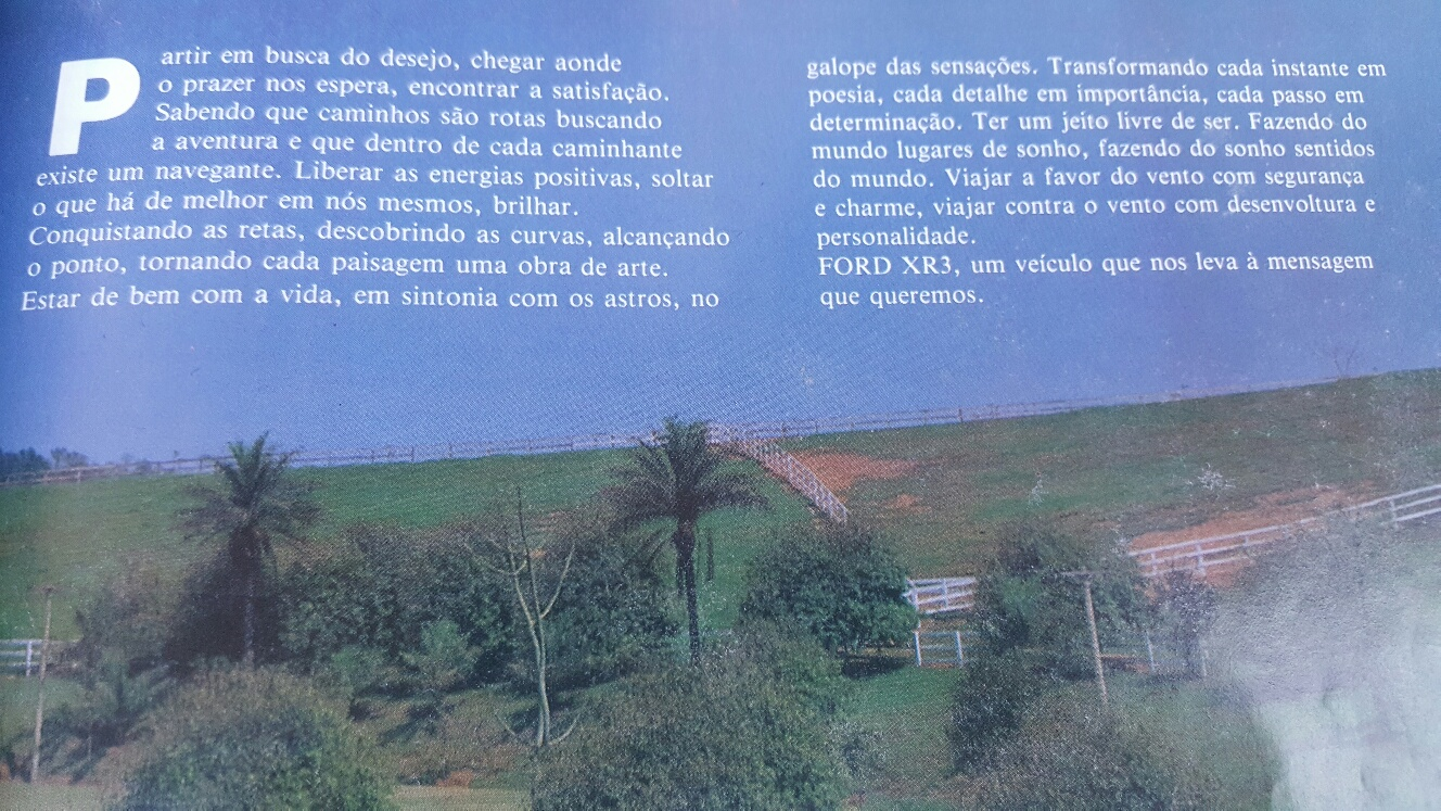 Texto publicitário do carro Ford XR3