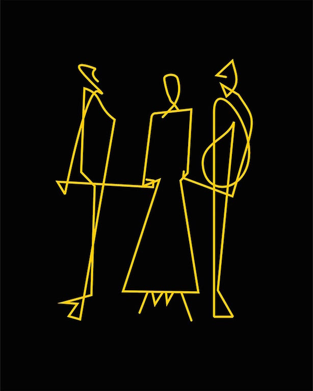 Dois homens e uma mulher atados por fios