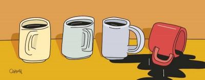xícaras em fila